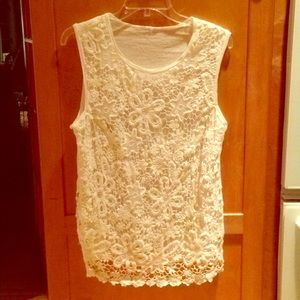 White J. Crew tank with embroidered overlay L